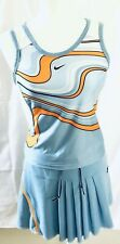 Nike Light Blue with Orange Girl Tennis Set Skirt S and Shirt XS  Dri-Fit