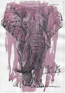 original painting A4 119VL art samovar Mixed Media Watercolor animal elephant