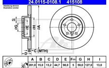 ATE Juego de 2 discos freno Antes 281mm para ALFA ROMEO 156 147 24.0115-0108.1