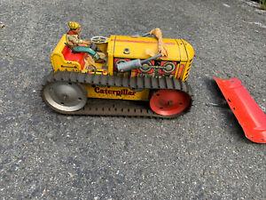 Vintage Marx Tin Litho Wind-Up Bulldozer Toy Tractor AM1
