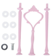 3 Tier Cake Cupcake Plate Stand Center Handle Fittings Hardware Pink Crown Rod