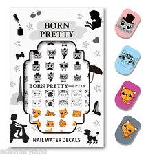 BORN PRETTY Water Decal Cute Cat Nail Art Sticker 2 Patterns/Sheet BPY18