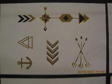 Metallic temporary tattoos - gold  & black  festive boho chic spirit style 4X6