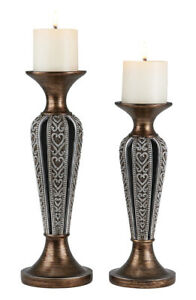 "12"" and 14"" Tall Polyresin ""Everly"" Candleholder, Bronze and Chrome finish (S..."
