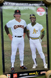 LARGE OAKLAND ATHLETICS A'S GIANTS RICKEY HENDERSON CLARK POLICE WEEK POSTER