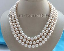 "3rows 18-19-20"" Genine Natural 11mm Round White Pearl Necklace 14k #f2571!"