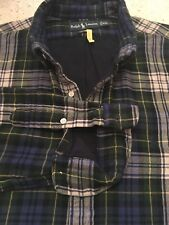 Polo Ralph Lauren Mens Long Sleeve Heavy Lined Flannel Shirt Blue Plaid XXL 2XL