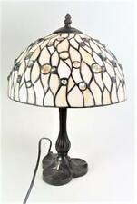 Table Lamp Light Tiffany Style Stained Glass White and Cream Jewelled
