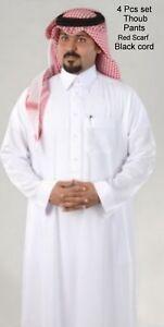 Saudi Dishdasha men thoub. thobe jalabeya Full Embroidered Collar 4 pcs set