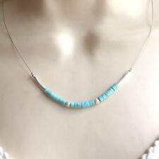 925er Pure Türkis Howlith KETTE 925 Sterling Silber Collier aqua Halskette g296