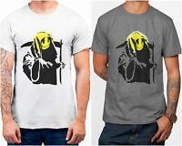 Smiley Reaper Banksy Street Art Men's Printed White Cotton T-Shirt Top