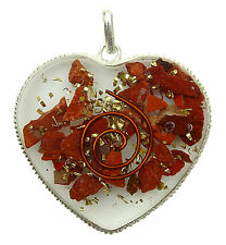 Jaspe rouge forme d'Orgone pendentif Chakra Orgonite spirituelle précieuses