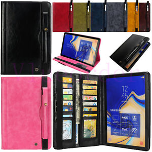 Leather Card Slots Stand Book Cover Case for Samsung Galaxy Tab S6 S5e S4/Tab A2