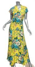 DIANE VON FURSTENBERG Womens Yellow Floral Silk Cap-Sleeve Maxi Dress S