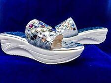 Mobi Women's Silver Rhinestone Wedge Mid Heel Slip On Shoes Sz EU 37 - US 7