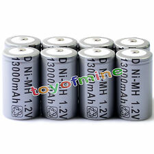 8pcs D Size D-Type 13000mAh 1.2V Ni-MH Rechargeable Battery Cell Grey