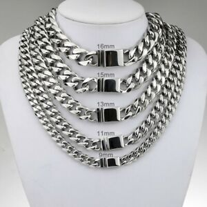 9-16mm Hip Hop Cuban Link Chain Necklace 18k Men Gold Plated Stainless Steel