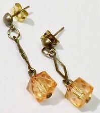 Bijou Vintage Boucle d'oreille percées pendantes cube translucide orangé *4991