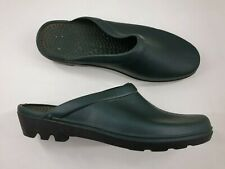 Size 8 / 9 (43/44) green rubber slip on clog mules wellies garden shoes