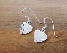 925 Sterling Silver - Plain Silver Heart Shape Hammer Finish Hook Earrings! HS1