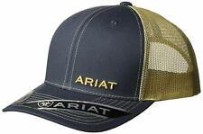 Ariat Mens Adjustable Snapback Mesh Cap Hat (Navy/Tan, One Size)