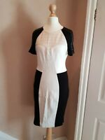 River Island Faux Leather Detail Bodycon Fitted Dress Black & White Size 10