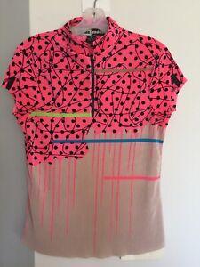 JAMIE SADOCK abstract pink black dots ribbed 1/4 zip tennis golf shirt M Unique