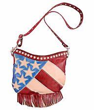 Genuine Leather Crossbody Bag Stars Stripes 4th July Fringe Boho Festival