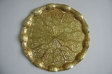 TURKISH TEA-WATER -COFFEE Serving TRAY, Wavy model, Gold color, Round shape