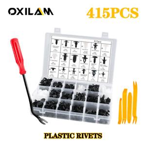 415PCS Plastic Rivets Clips Fastener Fender Bumper Pin For Ford Toyota Honda EOJ
