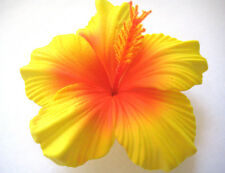 Hawaii Bridal Wedding Party Life-like Hibiscus Flower Hair Clip ~YELLOW QTY 2
