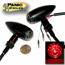 BLACK LED MINI BULLET MARKER TURN SIGNAL LIGHTS SMOKE/RED HARLEY XS650 BOBBER PR