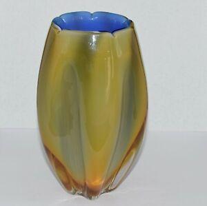 Vintge Retro Heavy Art Glass Vase - Blue with Yellow Cased Glass.