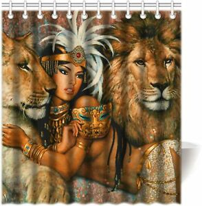 African woman and lion shower curtain polyester fabric bathroom