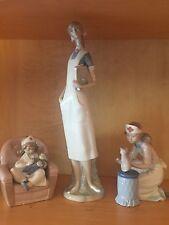 Lladro Nurse Figurines Lot Of 3