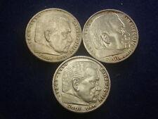 """3x  5 Reichsmark 1939 B E F Lot Silber  """" Erhaltungen """" W/20/612"""