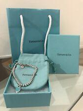 Tiffany and Co. Return To Tiffany Silver & Blue Mini Heart Tag Beaded Bracelet
