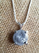 Authentic Ancient Thrace Chersonesos Lion Silver Coin Charm 925 Silver Necklace
