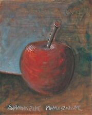 """MY RED APPLE"" Small Acrylic Painting Signed Greek 2002"
