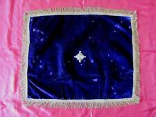 19C. Antique Handmade Velvet & Gold Thread Table Cover w/Christian Cross
