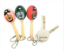 Mini Wooden Hand Painted Maracas Keychains (12 Pack)