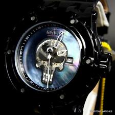 Invicta Marvel Punisher Subaqua Specialty Black MOP Automatic Leather Watch New