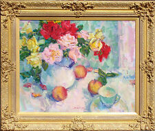Scott Switzer Floral Hand Signed Original Oil Painting with Ornate Gold Frame