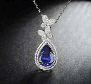 2.35Ct Pear Shape Natural Blue Tanzanite Women's Pendant In 925 Sterling Silver