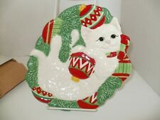 Fitz And Floyd Yuletide Kitten Canape Plate Dessert Tray Plate Nib 2008