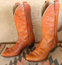 Vtg 70s Wrangler Cowboy Western Tan Floral Women'S Cowgirl Boots 7.5 N Made Usa