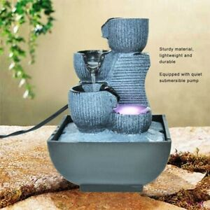 Handmade Unique Shape Desktop water Fountain Home indoor Tabletop waterfall LED