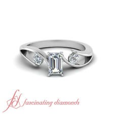 1.25 Ct Emerald Cut & Round Diamond GIA Certified Engagement Rings Size 4-10