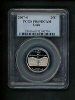 2007-S US Statehood Quarter Utah UT 25c .25 PCGS PR69 DCAM Proof Deep Cameo