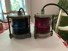 New listing Pair of Red/Green Vintage 360 degree Running Glass Lights
